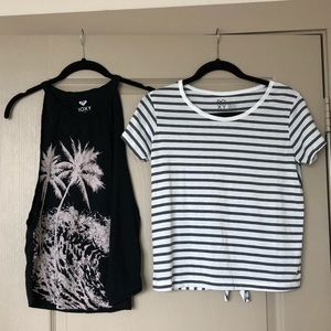 EUC - bundle of two Roxy tops (tank and t shirt)
